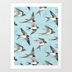 Blue Sky Swallow Flight Art Print