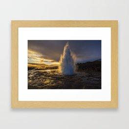 Geysir Sunset Iceland Framed Art Print