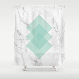 Marble Scandinavian Design Geometric Squares Shower Curtain