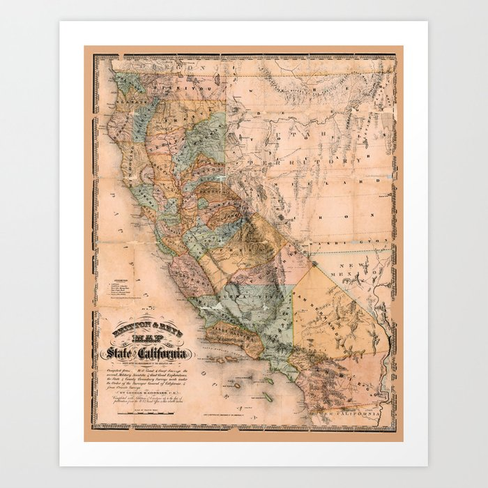 Map Of California 1861 Kunstdrucke