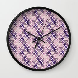 Pink & Purple Quatrfoil Wall Clock