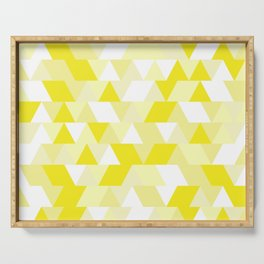 Simple Geometric Triangle Pattern - White on Yellow - Mix & Match with Simplicity of life Serving Tray