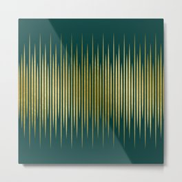 Linear Gold & Emerald Metal Print