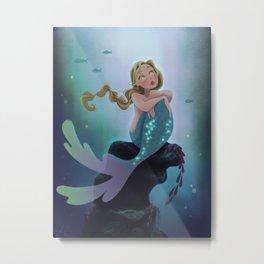 Wistful Mermaid Metal Print