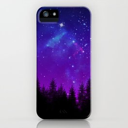 Galaxy Over the Forest at Night iPhone Case