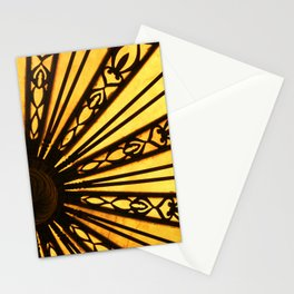 Yellow and Black Abstract Photographic Print Radial Lines Pattern Stationery Cards