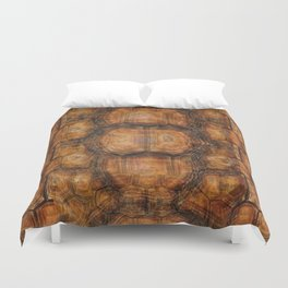 Brown Patterned  Organic Textured Turtle Shell  Design Duvet Cover