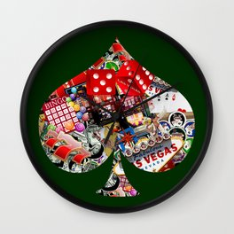 Spade Playing Card Shape - Las Vegas Icons Wall Clock