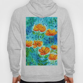 Abstract Orange Poppies Hoody