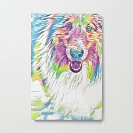 Collie in Rainbow Pastel Metal Print