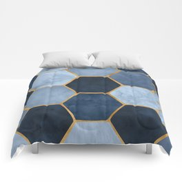 Winter Palace / blue and gold geometric design Comforters