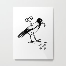 Mechanical Crow Metal Print