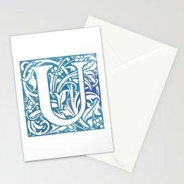 Letter U Elegant Vintage Floral Letterpress Monogram Stationery Cards