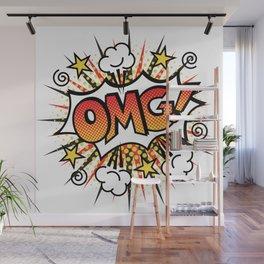 Pop Art OMG! Text Design Wall Mural