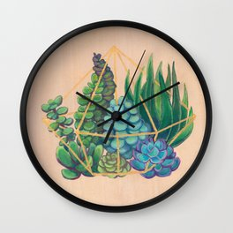 Geometric Terrarium 1 Acrylic on Wood Painting Wall Clock