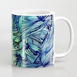 Blue Pen & Ink Butterflies Coffee Mug