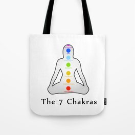 The seven chakras with their respective colors and names Tote Bag