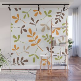 Assorted Leaf Silhouettes Retro Colors Wall Mural