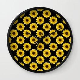 Golden Daisy Flowers Wall Clock