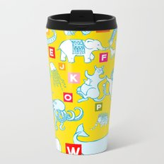 Yellow Alphabet Metal Travel Mug