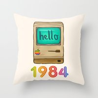 1984 Throw Pillows featuring 1984 by Laura Wood