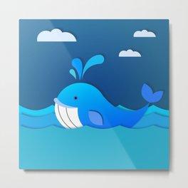 Happy Blue Whale Metal Print