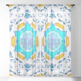 eyes on the horizon (blue/yellow) Sheer Curtain