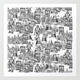 Doctor Who Toile de Jouy | 'Walking Doodle' | Black Art Print