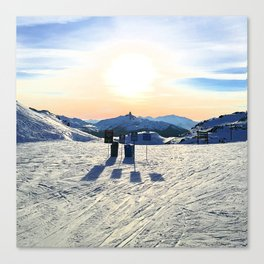 The snow, signs, shadows, sun, sky - and the surrounding! Canvas Print