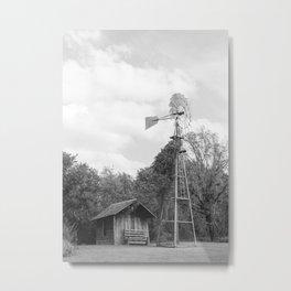 Old Farm Windmill, Black and White Photo Metal Print