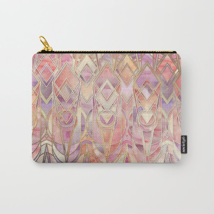 Glowing Coral and Amethyst Art Deco Pattern Carry-All Pouch