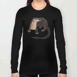 Otters of the World pattern in teal Long Sleeve T-shirt