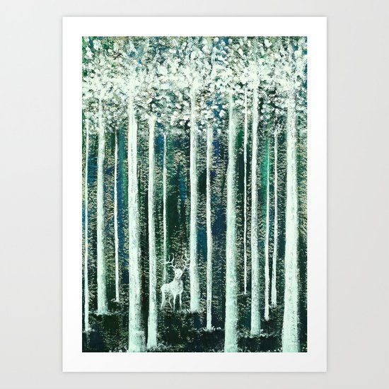 Christmas Stag in the jungle handpainted Art Print