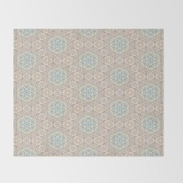 Seemless Pattern : White Snowflake Lace with Spectrum Background Throw Blanket