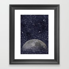 Mystic Galaxy Constellation Moon Stars and Cosmic Space White Framed Art Print