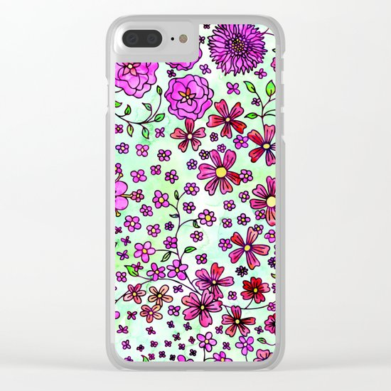 Pink Small Flowers Clear iPhone Case