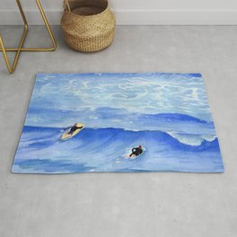 Getting ready to take this wave surf art Rug
