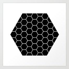 Geometric shape t-shirts & prints: Black Hexagon (Hex x Hex) Multiple colours available... Art Print