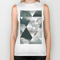 polygon Biker Tanks featuring Waves polygon by cat&wolf