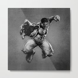 HULK in Black White Metal Print
