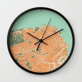 San Francisco city map orange Wall Clock
