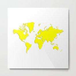 World with no Borders - true yellow Metal Print