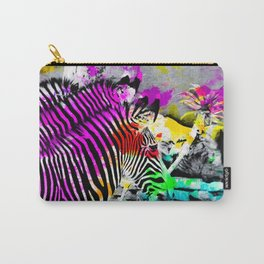 colorful zebra with painting texture abstract in pink yellow blue green Carry-All Pouch