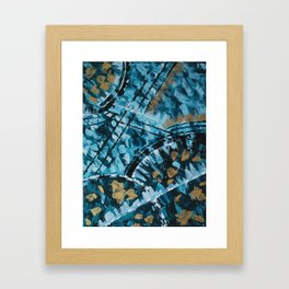 Turquoise and Gold Abstract Painting Framed Art Print