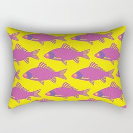 Purple and Pink Tropical Fish Shoal Pattern Rectangular Pillow