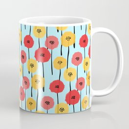 Bright Sunny Mod Poppy Flower Pattern Coffee Mug