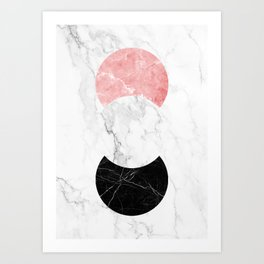 Marble Print With Geometric Forms. Art Print