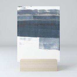 Blue and White Minimalist Abstract Landscape Mini Art Print