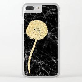 Golden Dandelion on Black Marble Clear iPhone Case