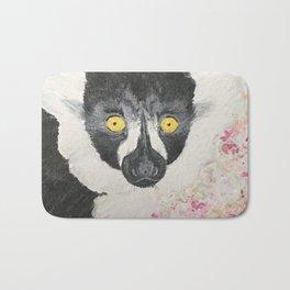 Black and White Ruffed Lemur Hand Painted Print Bath Mat